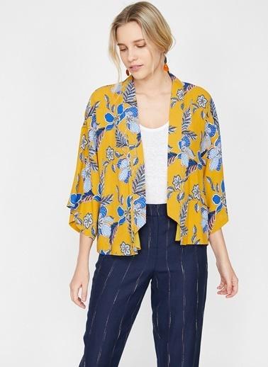 Koton Koton Çiçek Desenli Sarı Ceket Sarı